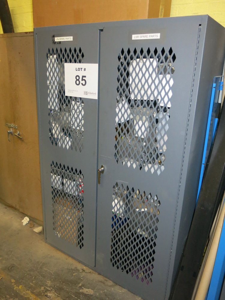 Lot 85 - Prima Parts: 2-Door Metal Cabinet w/ LPE Spare Parts and LSR Spare Parts for Use w/ Lot 70 and 66