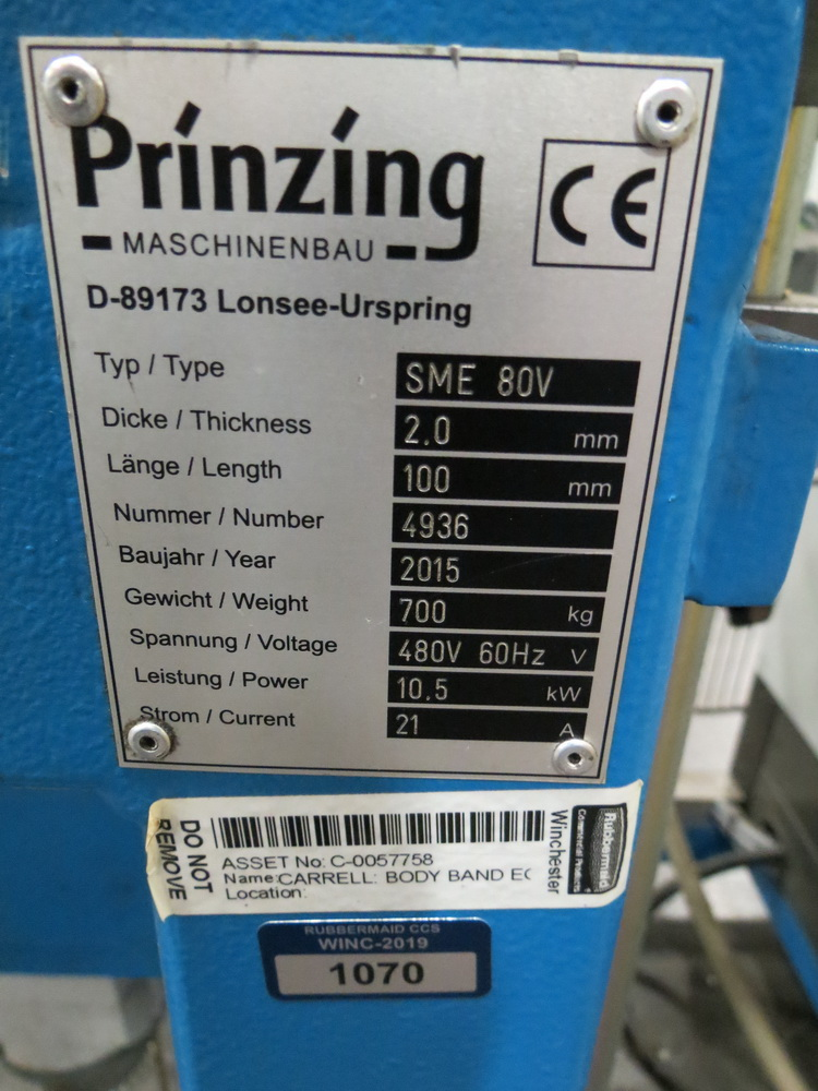 Lot 55 - 2015 Prinzing Model SME 80V Body Band Flanger, 2.0 mm Thickness, 100 mm Length