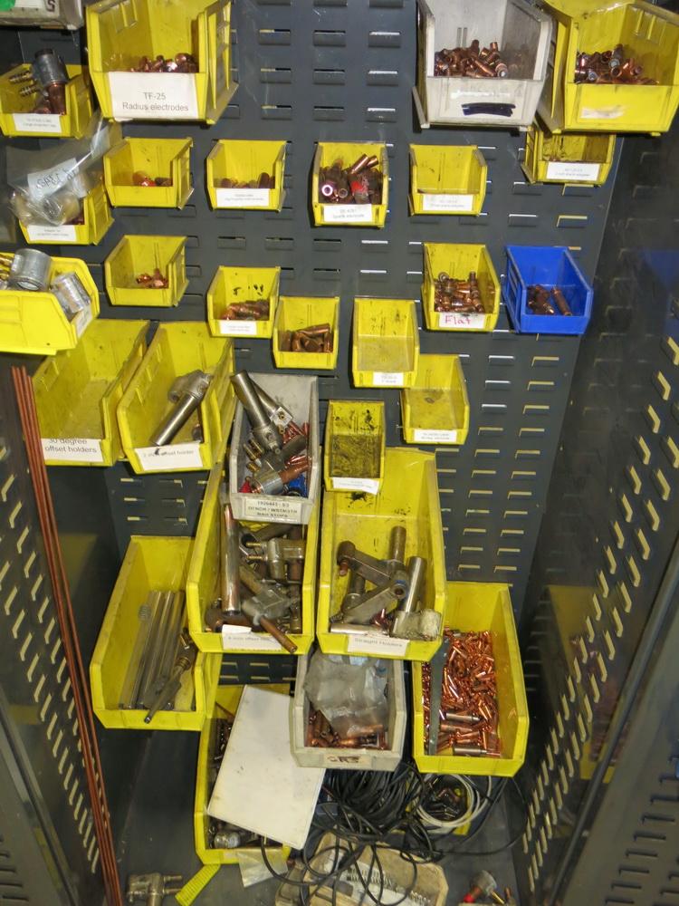 Welding Supply 2-Door Metal Cabinet w/ Contents to Include: Welding Tips, Arms, Weld Controllers - Image 2 of 2
