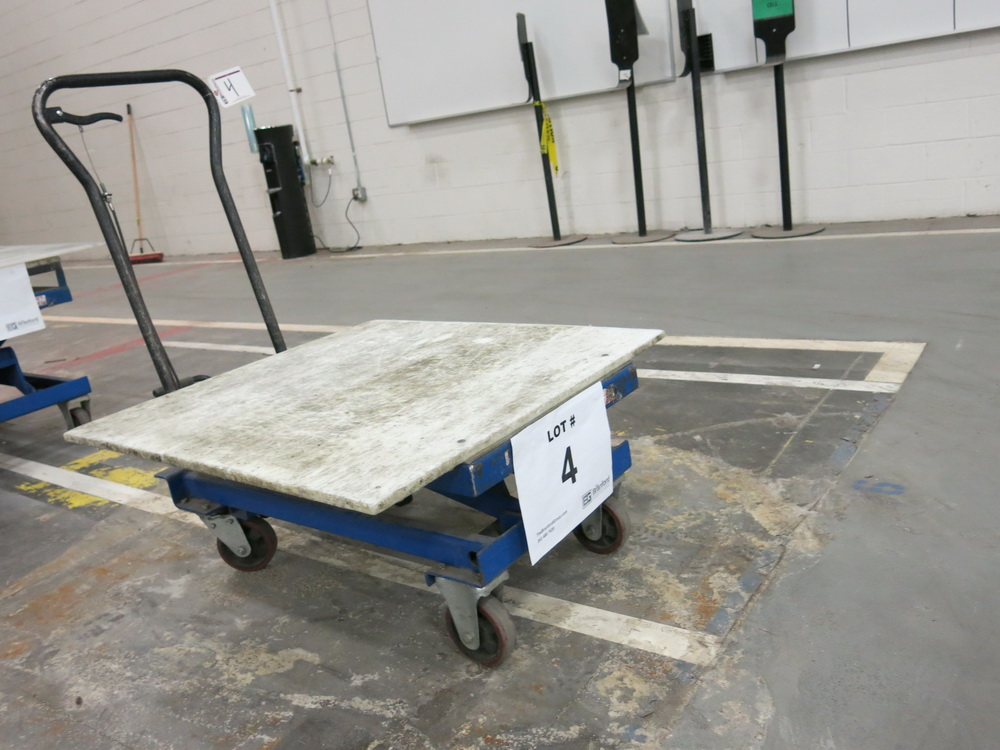 Lift Table, 1100 lb Cap. Hydraulic Die Lift Cart w/ Polypropylene Top