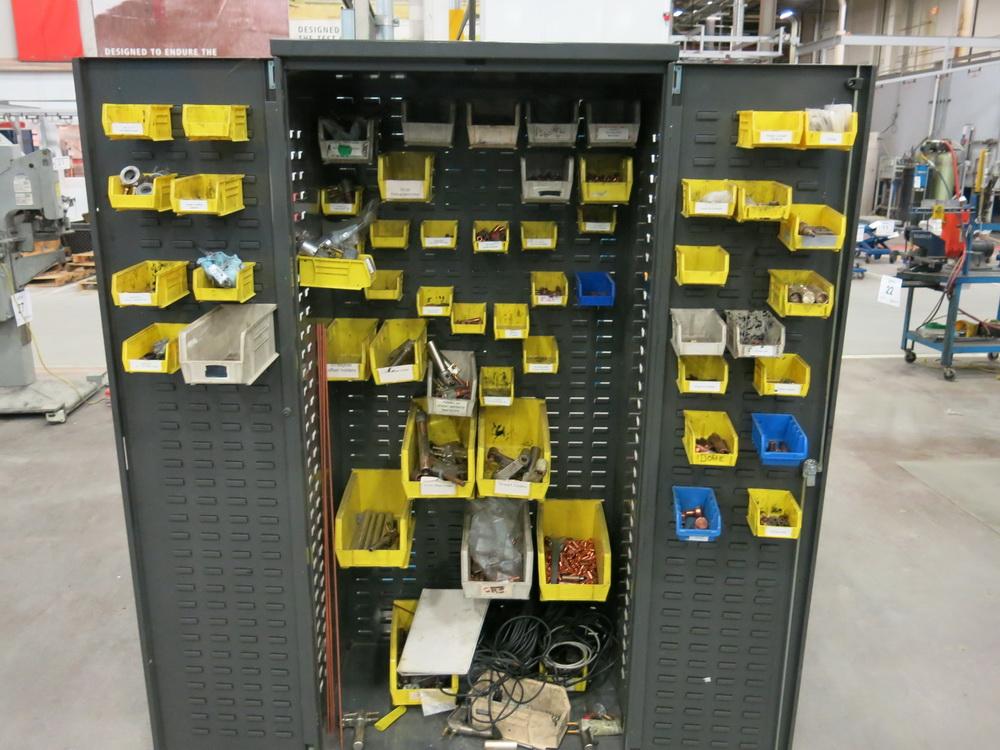 Welding Supply 2-Door Metal Cabinet w/ Contents to Include: Welding Tips, Arms, Weld Controllers