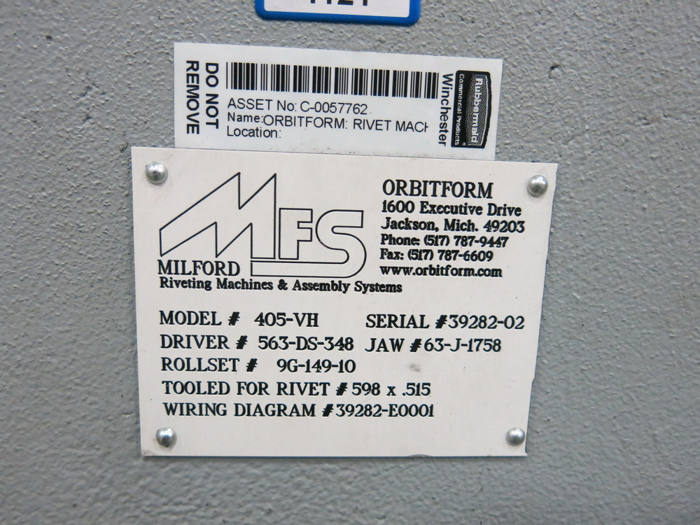 Orbitform and Milford Riveting Machine, Model 405-VH, w/ Vibratory Bowl Feeder - Image 2 of 2