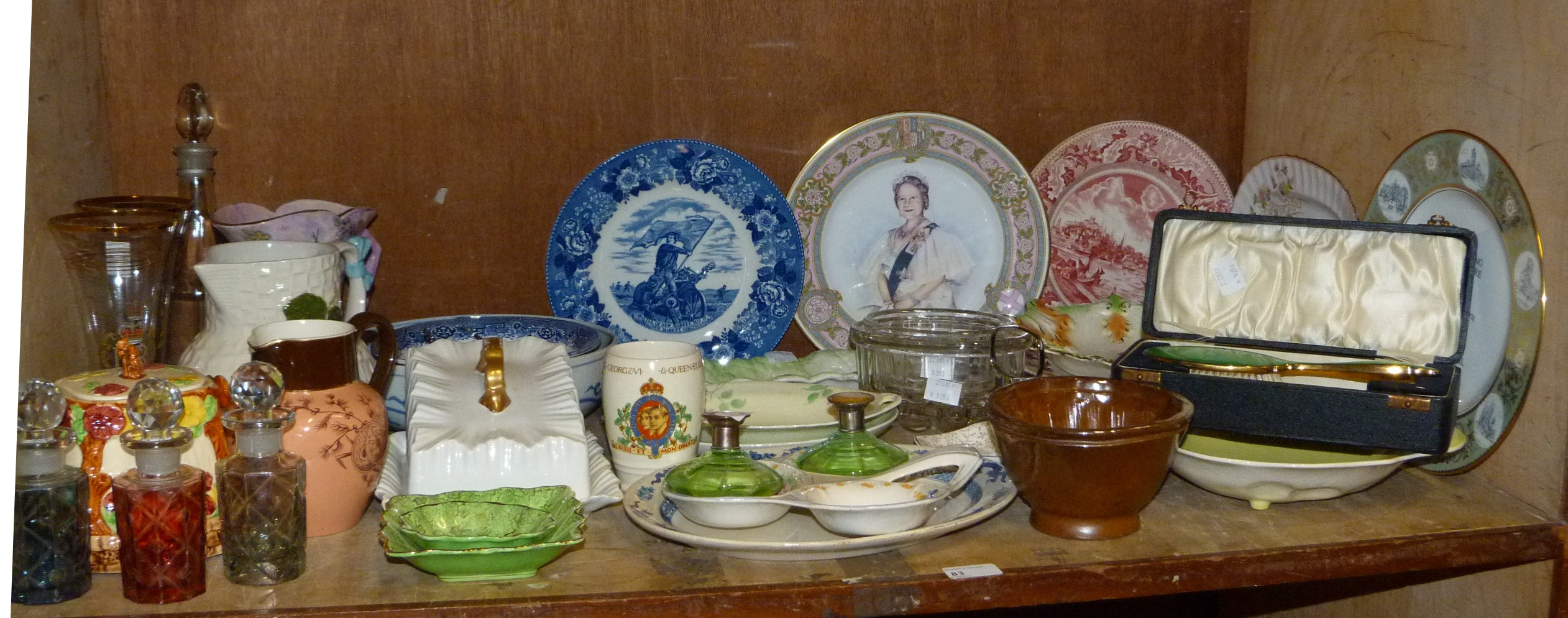 Lot 83 - A Victorian saltglazed jelly mould, two pressed glass jelly mould, decorative ceramics, jugs,