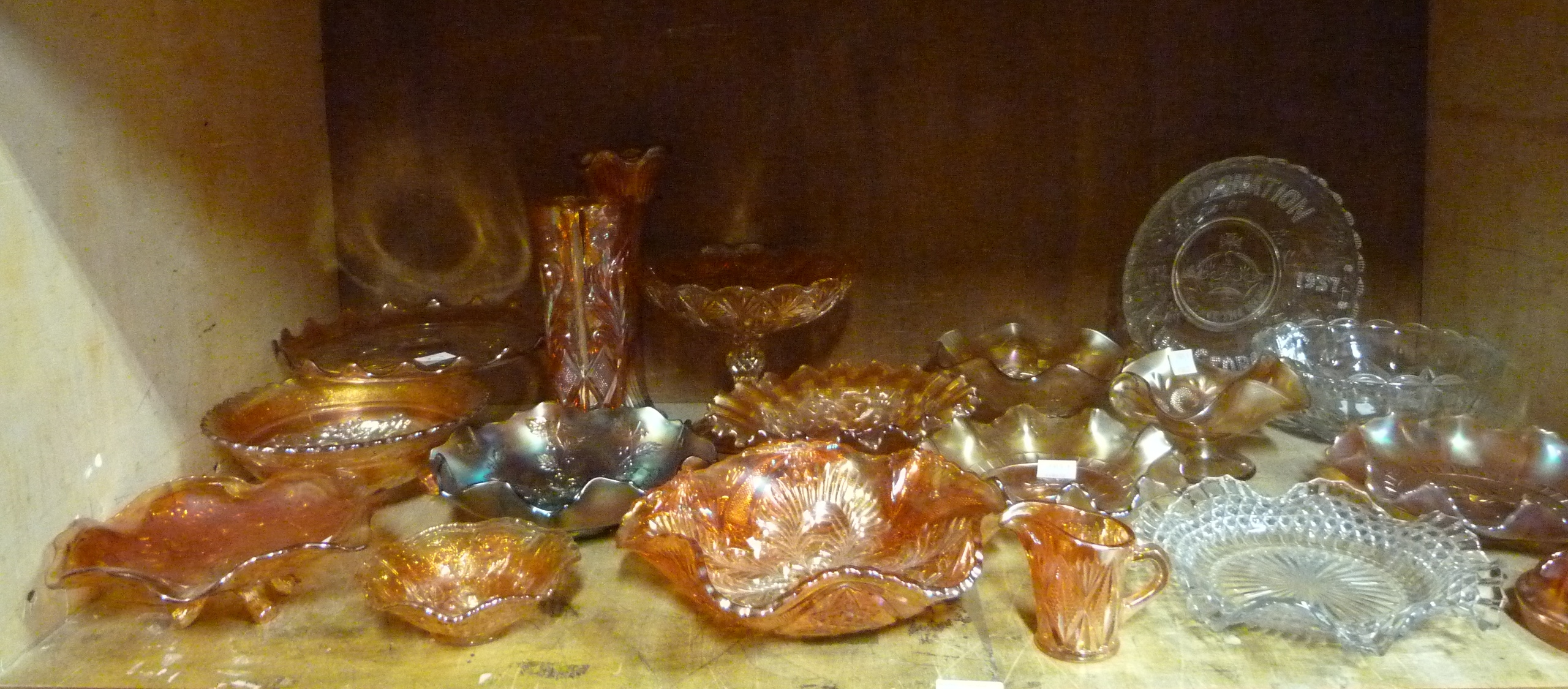 Lot 82 - A large quantity of carnival and pressed glass including coronation plate and mainly orange carnival