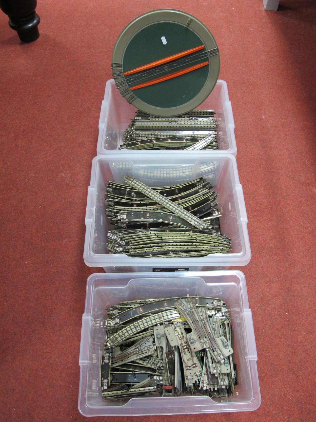 Lot 11 - A Large Quantity of Hornby Dublo Three Rail Track, including points. All fair/good plus a turntable.