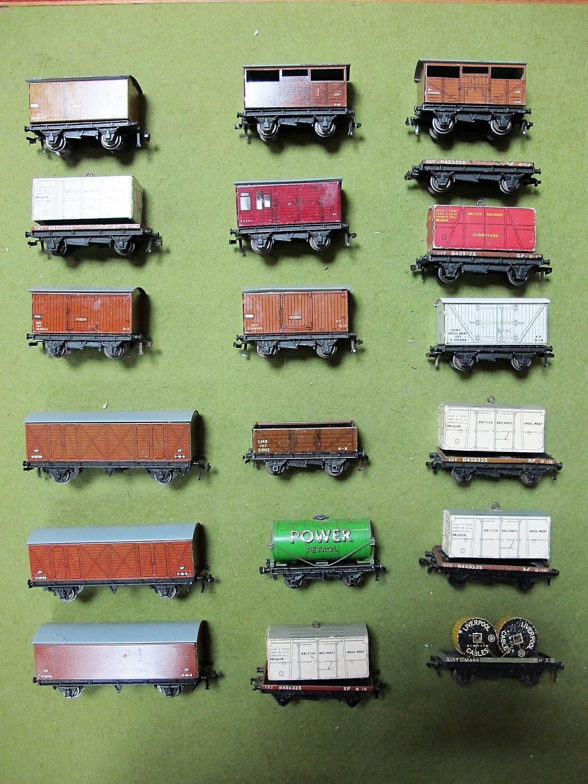 Lot 13 - Nineteen Assorted Hornby Dublo Three Rail Wagons, all playworn.