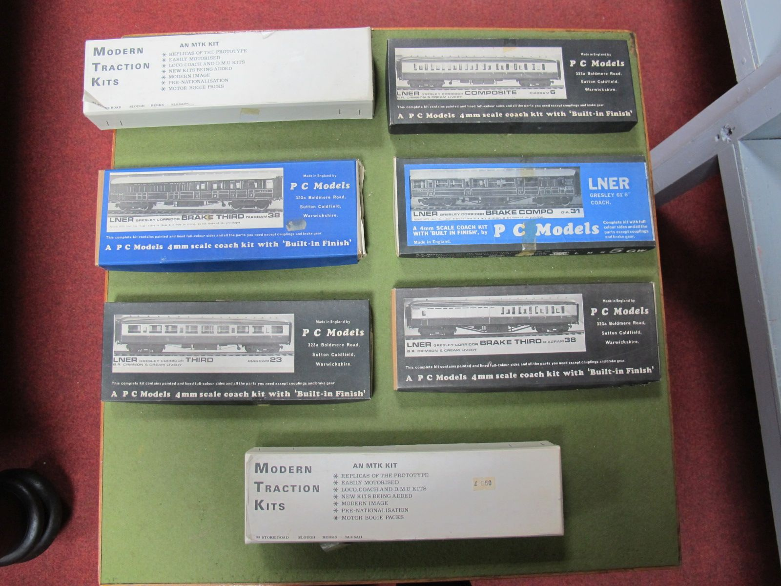 Lot 31 - Four 4mm Coach Kits by P.C. Models and two 4mm coach kits by Modern Traction kits, all boxed and