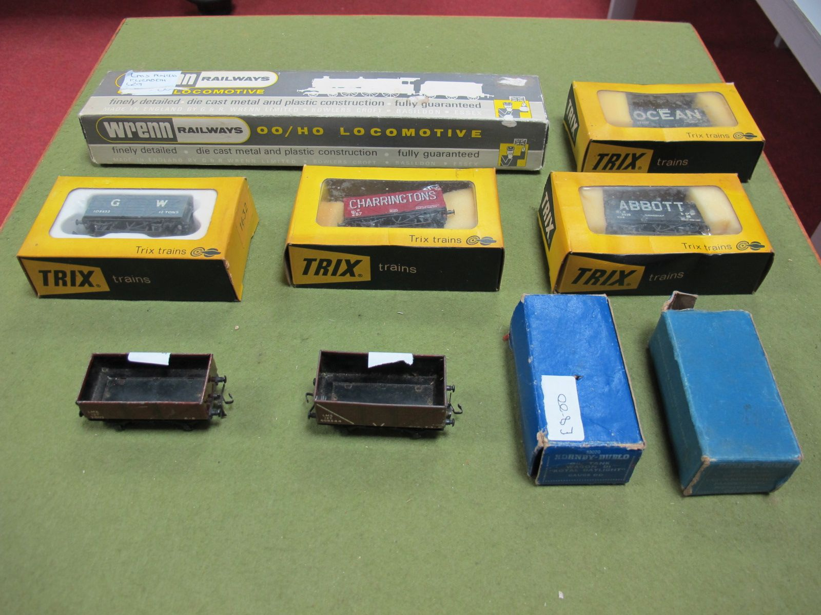 Lot 4 - Four Trix 'OO' Wagons, boxed, an empty Wrenn Locomotive box and four Hornby Dublo Wagons, two