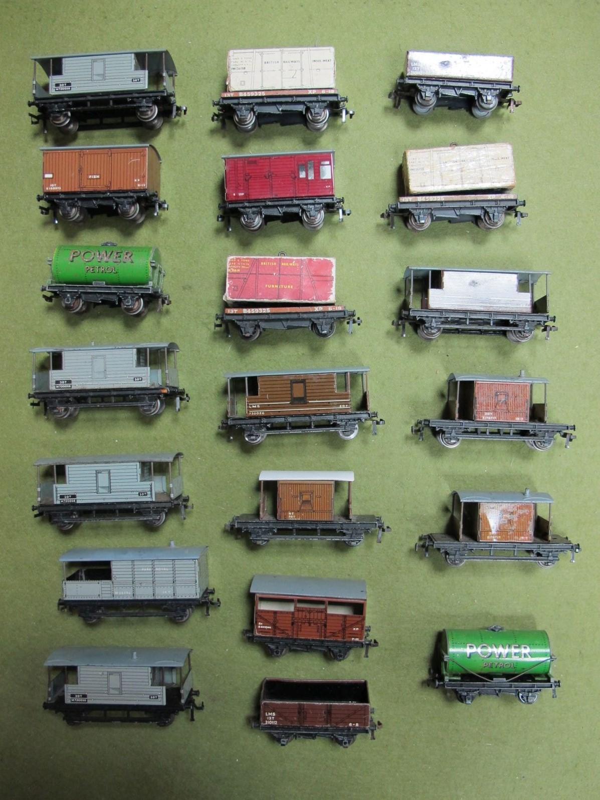 Lot 19 - An Assortment of Twenty Hornby Dublo Three Rail Wagons, all playworn.