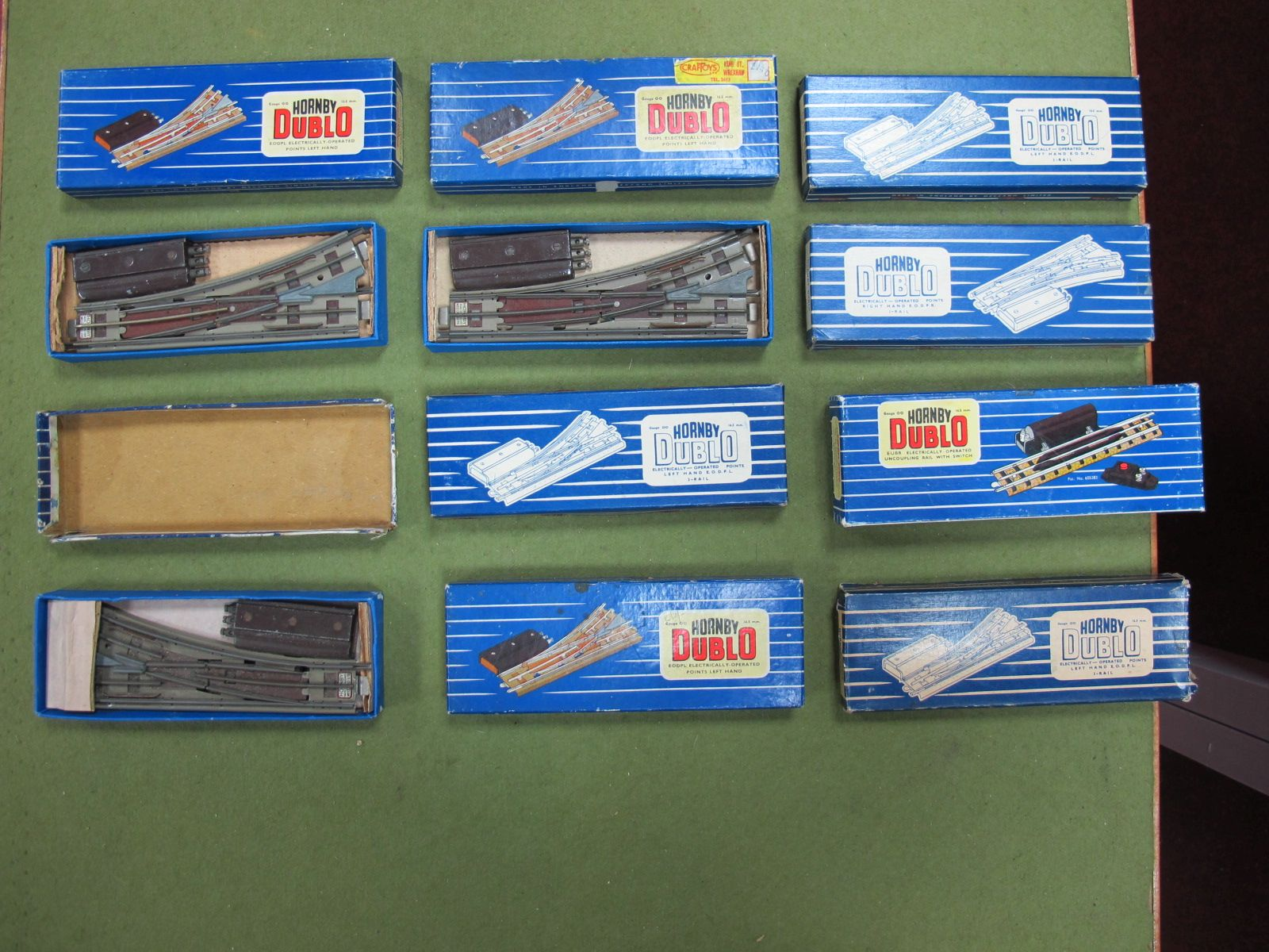 Lot 5 - Eight Hornby Dublo Electrically Operated Points, both left and right hand. Electrically operated