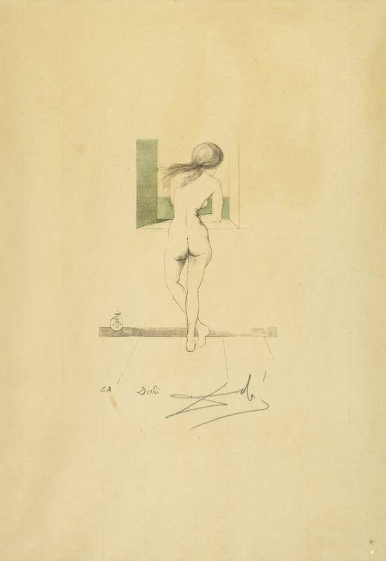 Los 41 - Salvador DALI (1904-1989) - Nu à la fenêtre - Lithographie en couleurs - 35,5 x [...]