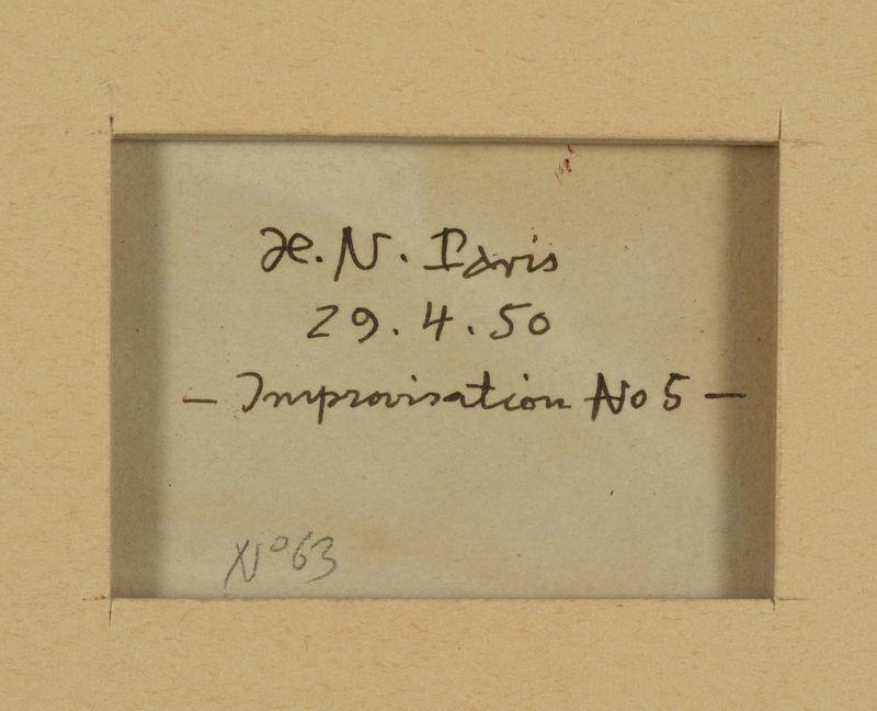 Los 46 - Henri NOUVEAU (1901-1959) - Improvisation, N°5 - Huile sur papier monogrammée, [...]