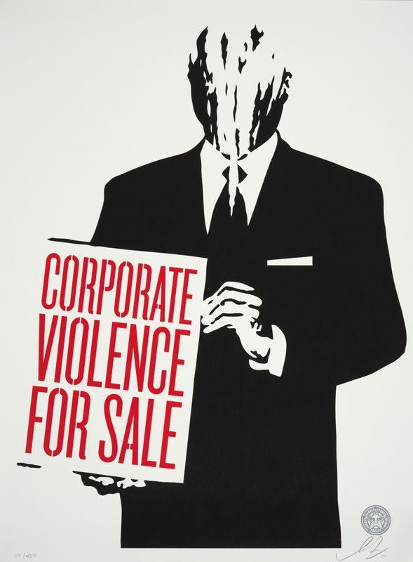 Los 10 - Shepard FAIREY (1960) - Corporate violence for sale, 2011 - Sérigraphie signée et [...]