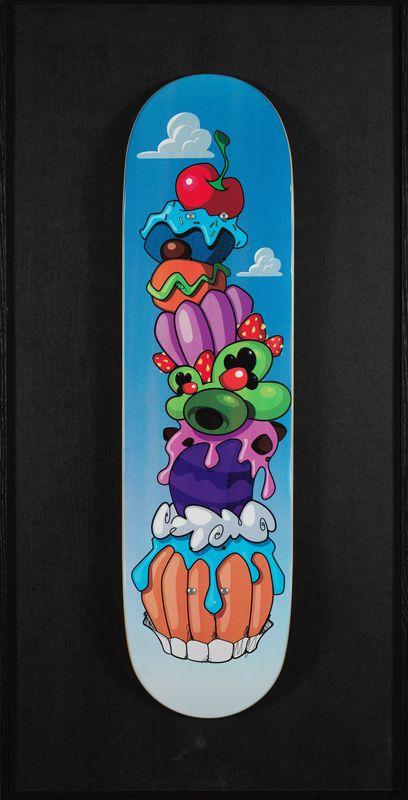 GUM (né en 1976)- Space cake - Impression sur skateboard - Numéroté 22/30 daté [...]