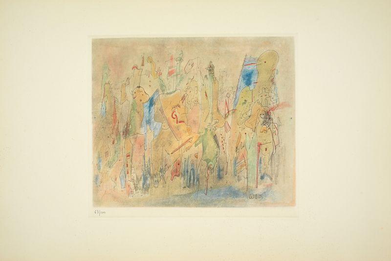 Los 30 - Otto WOLS (1913 - 1951) - Les Fous, 1938 - Gravure en couleurs sur papier Rives BFK [...]