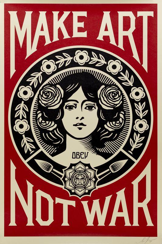 Los 23 - Shepard FAIREY dit OBEY (1970) - Make Art Not War - Affiche sérigraphique signée au [...]