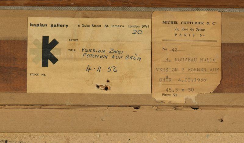 Los 43 - Henri NOUVEAU (1901-1959) - Version II, Formen auf Grün, 4.11.56 -Huile sur papier [...]