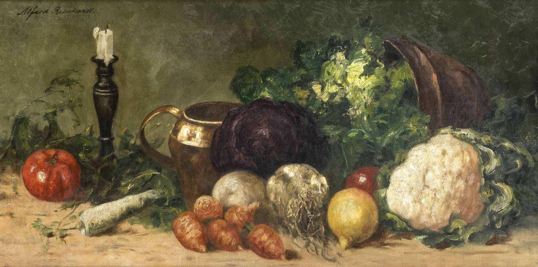 Alfred Reinhardt, dt. Maler 1. H. 20. Jh., Gemüse-Stillleben mit ...