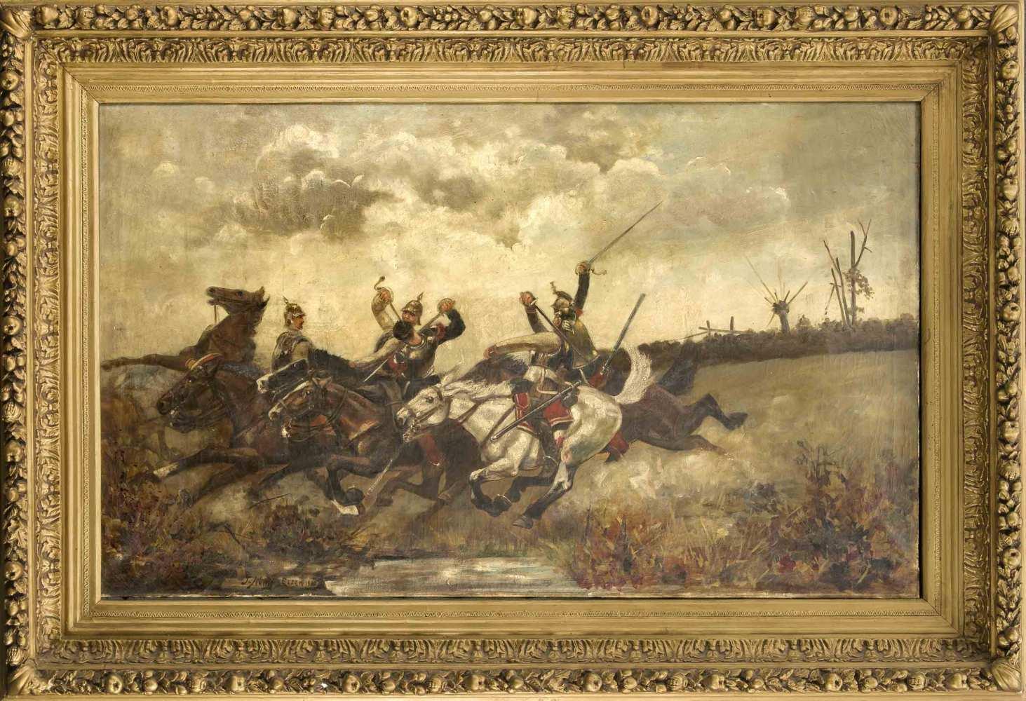 J. König, Essener Maler um 1900, monumentales Gemälde einer ...