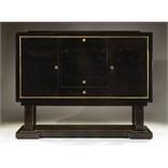 Jacques adnet 1900 1984 table basse en bois laqu noir pr sentant un platea - Buffet noir laque ikea ...