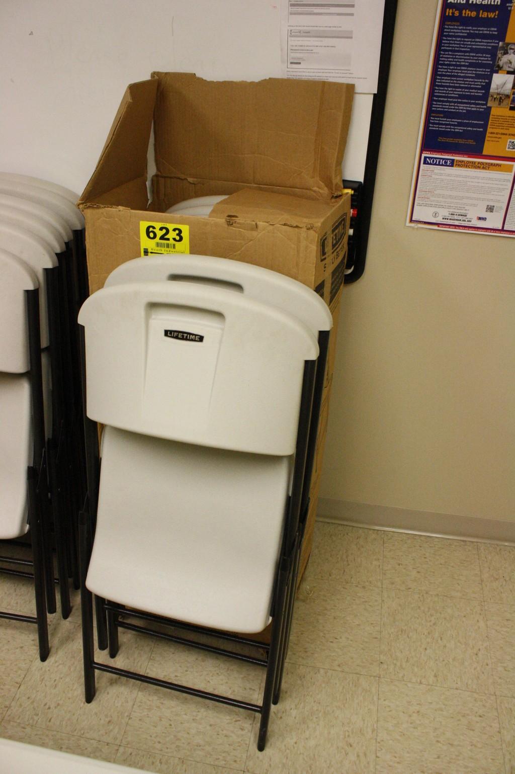 6 Lifetime Plastic Folding Chairs