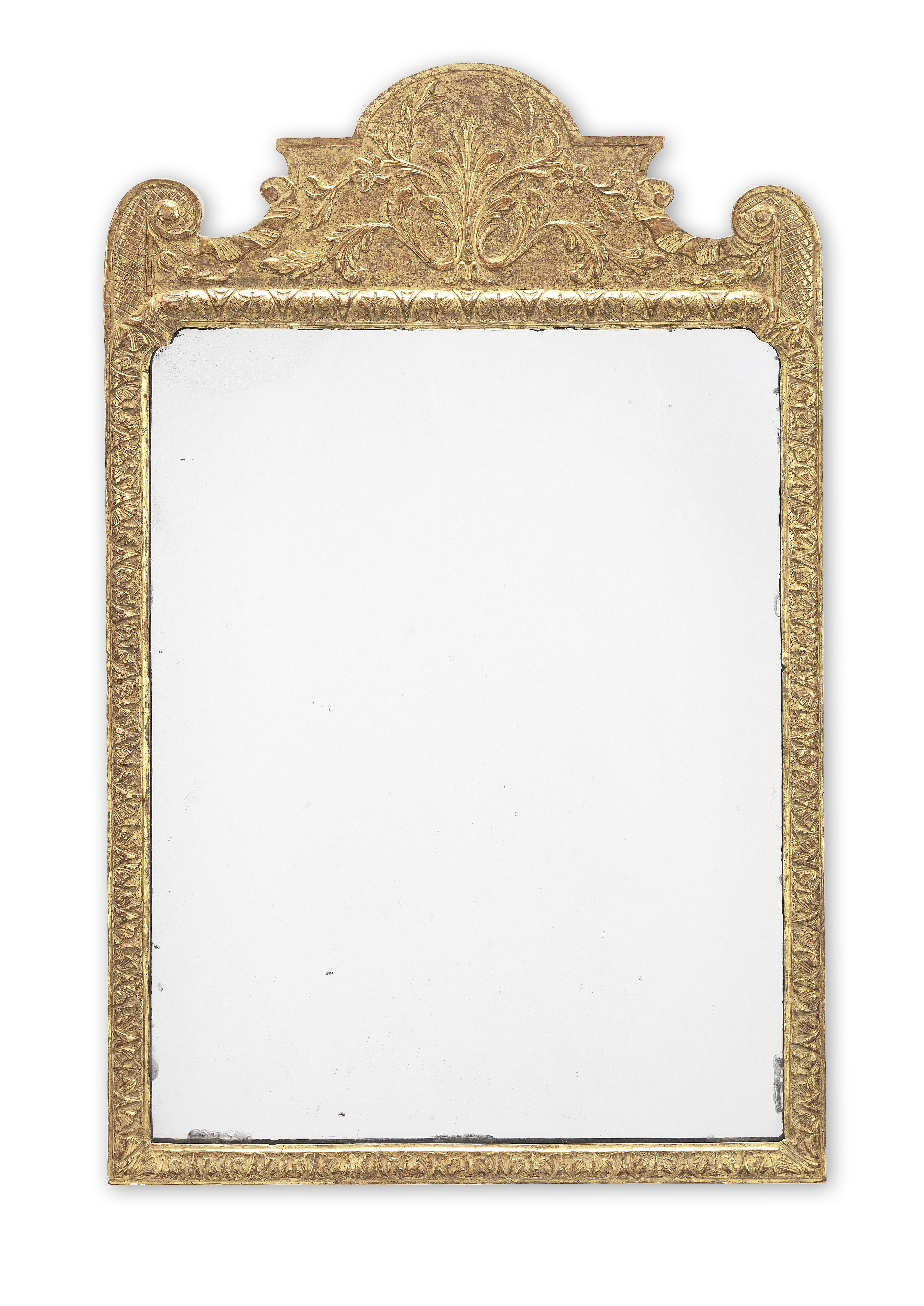 A George I gilt gesso mirror of small proportions