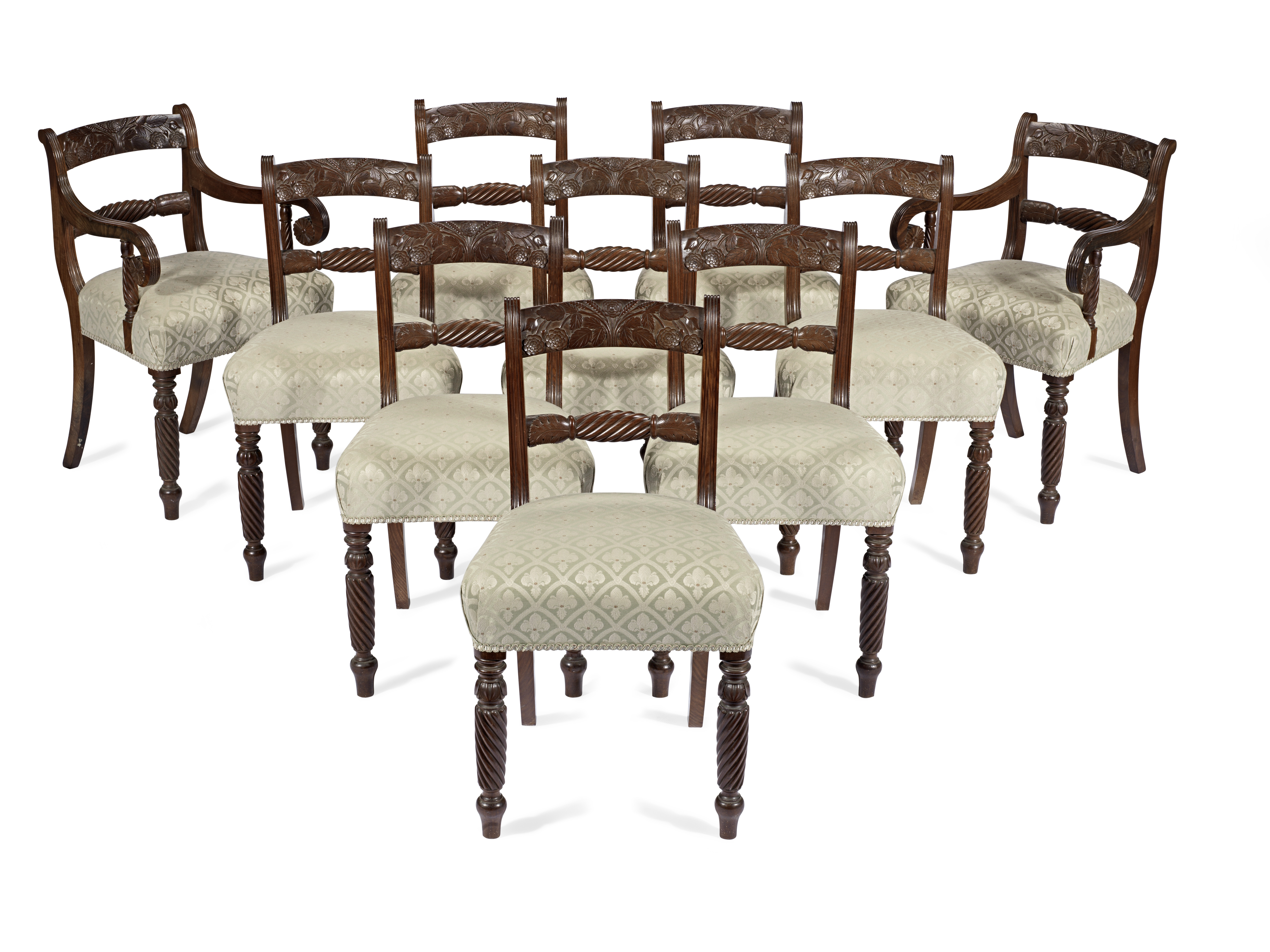 A set of ten Regency mahogany dining tables probably Scottish or Irish (10)