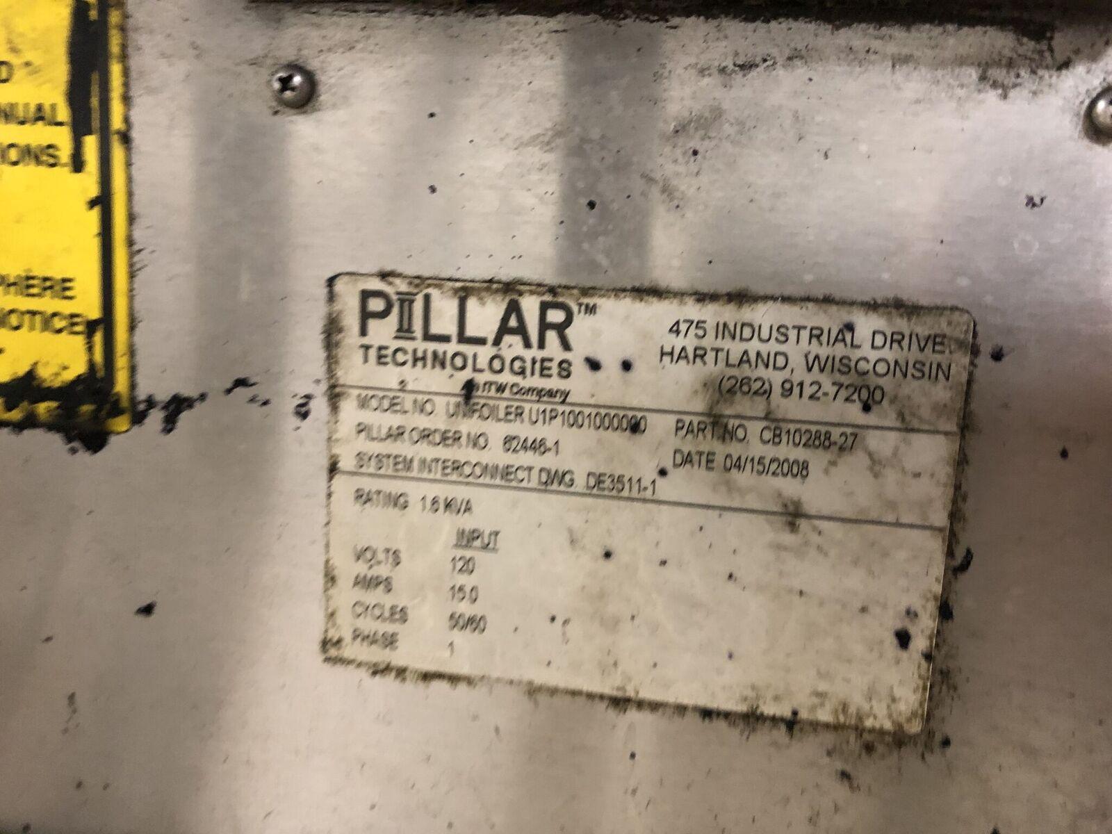 Pillar Technologies Unifoiler Cap Sealing Machine, Model #U1P1001000000, DOM April 2009 - Image 7 of 7