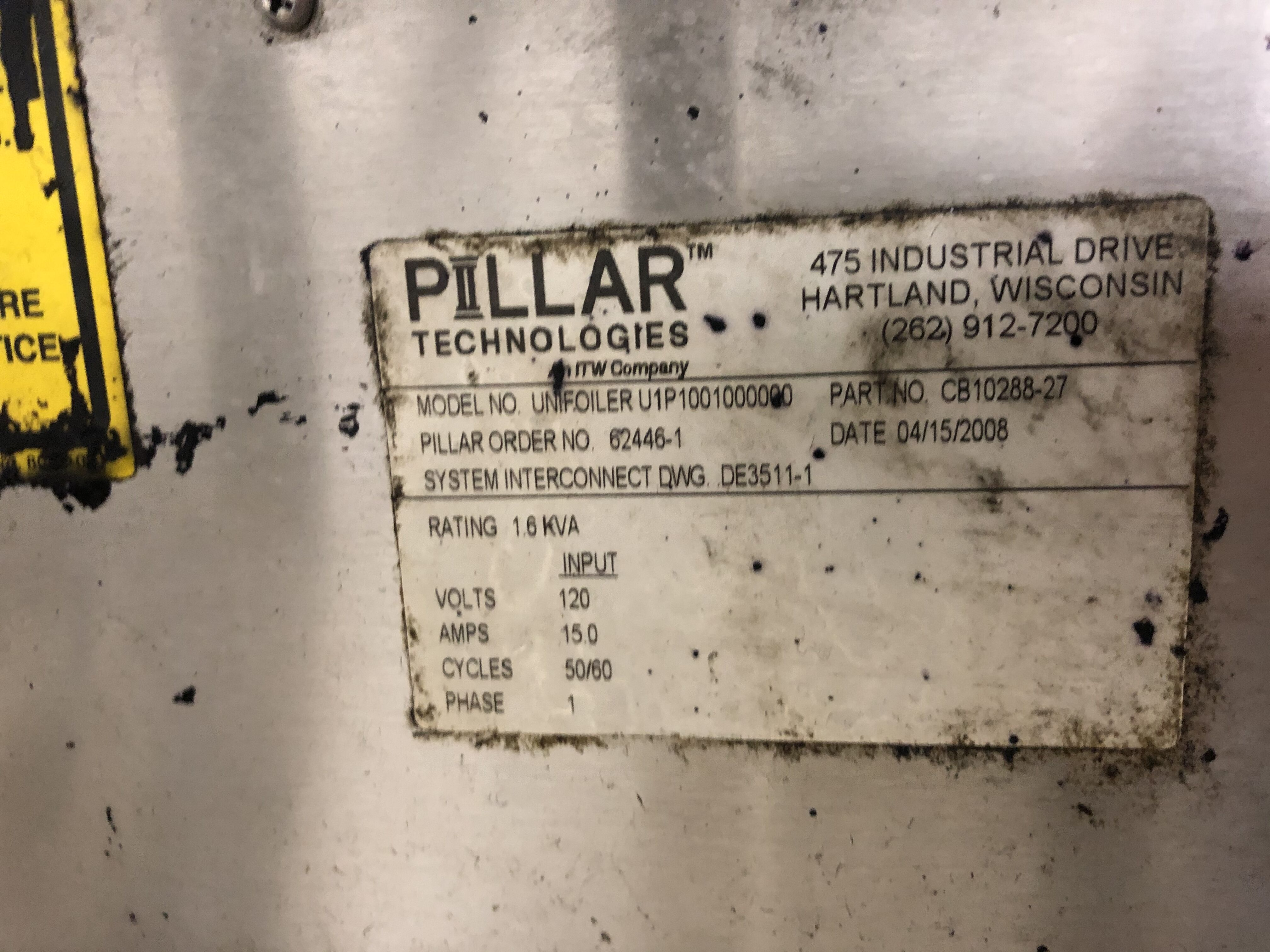 Pillar Technologies Unifoiler Cap Sealing Machine, Model #U1P1001000000, DOM April 2009 - Image 5 of 7