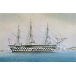Lot 149 - William Mackenzie Thomson (fl.1870-1892) - Watercolour - A British Man o' War, signed, 29cm x