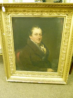 Lot 147 - Early 19th Century English School - Oil on canvas - Half length portrait of a gentleman wearing a