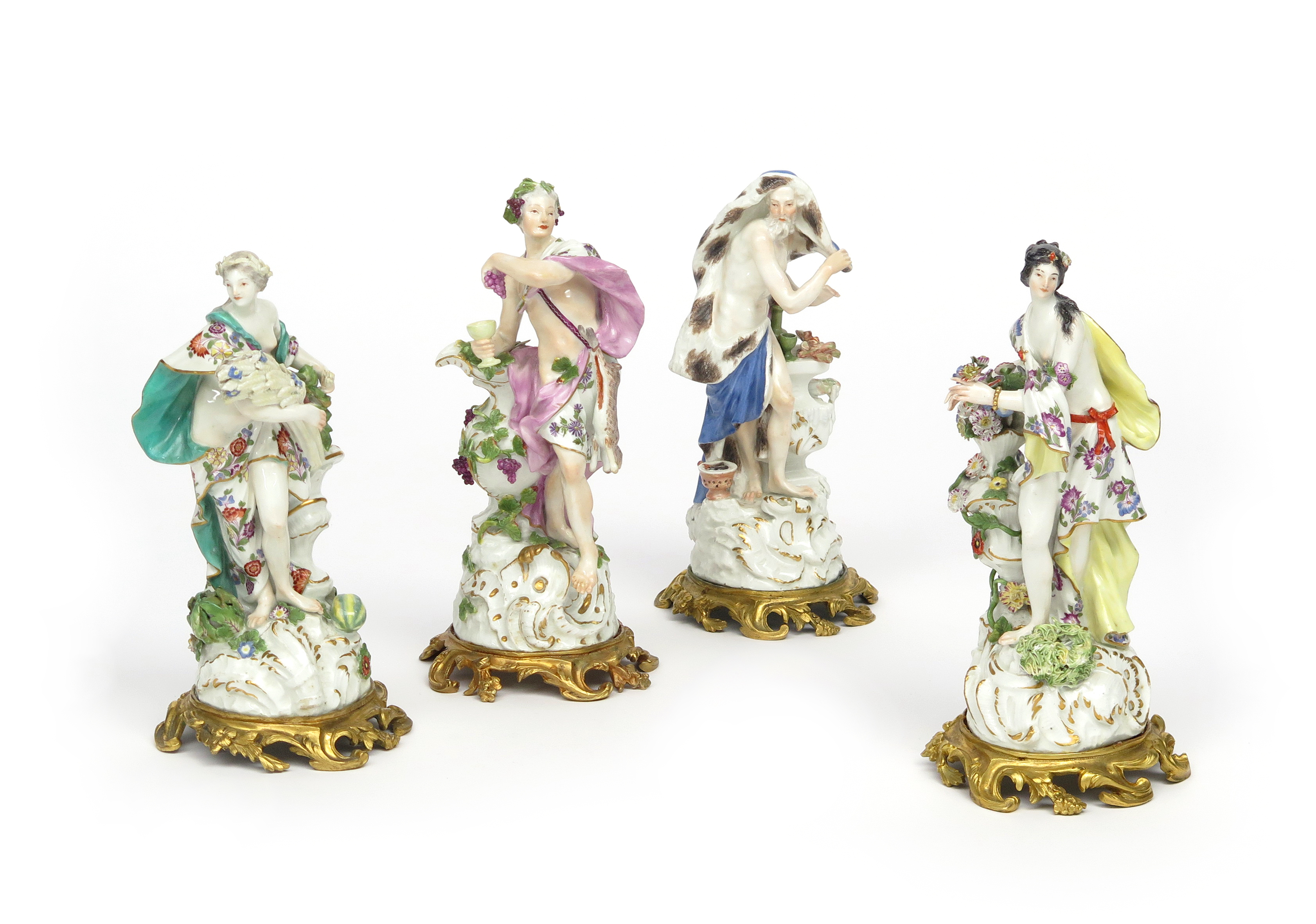 Lot 174 - A set of ormolu-mounted Meissen figures of the Four Seasons c.1760, each modelled as a Classical