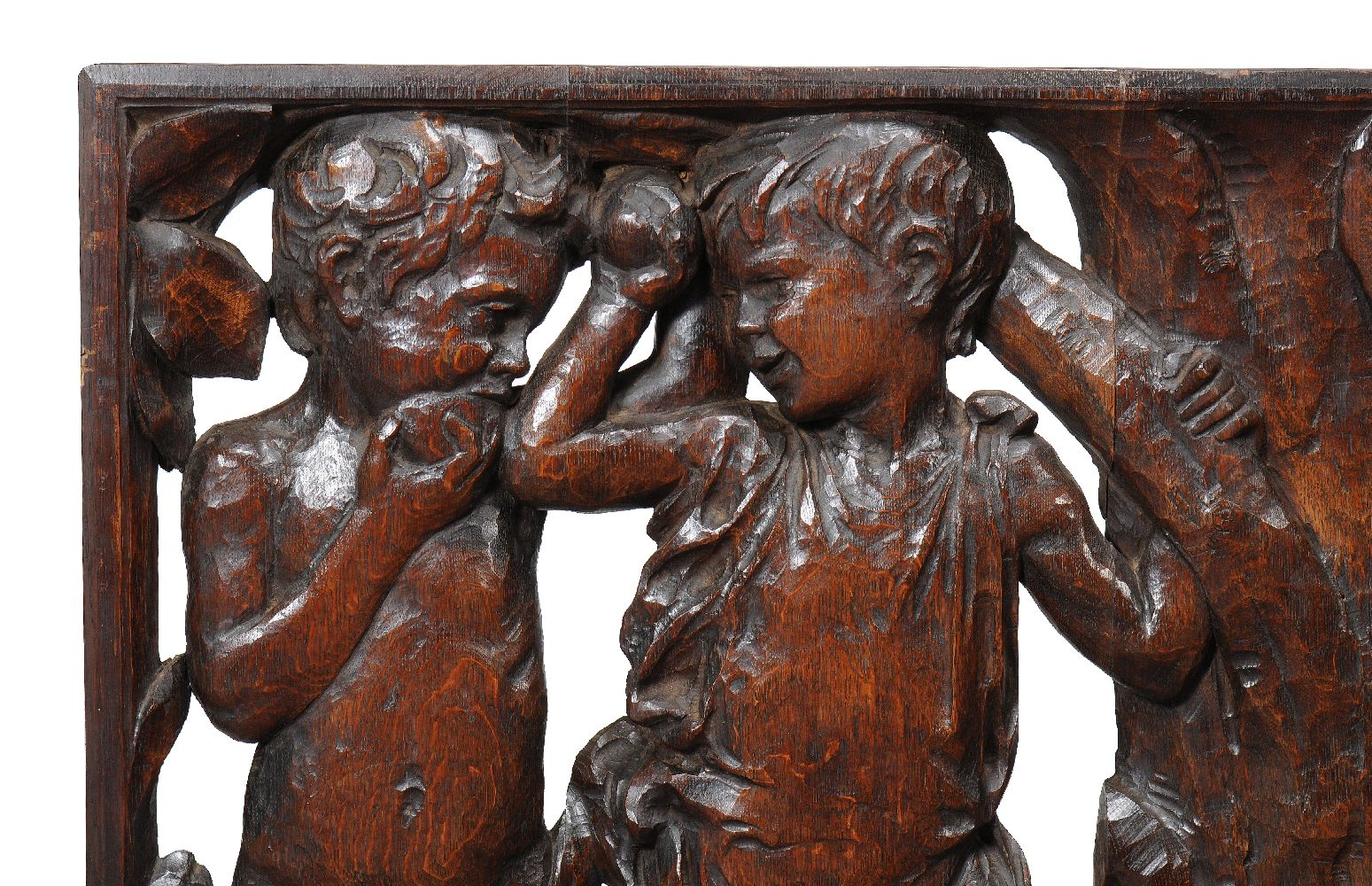Lot 246 - A pair of Arts & Crafts carved oak panels, circa 1900, possibly stair panels, each rectangular panel