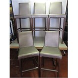 5 x Brilliani High Back Bar Stools, Upholstered in Silver Faux Leather. Made In Italy