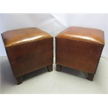 2 x Maisons Du Monde Brown Leather Stools with Padded Seat and Stud Nail Detail To Sides. RRP 119.90