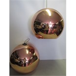 6 x Tom Dixon 25cm Pendant Ceiling Light. Made From a Polycarbonate Sphere. Colour Copper/Bronze