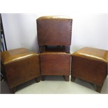 4 x Maisons Du Monde Brown Leather Stools with Padded Seat and Stud Nail Detail To Sides. RRP 119.90