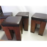 4 x Oak Stools with Brown Faux Leather Padded Detachable Cushions. Size H52cm x W36cm