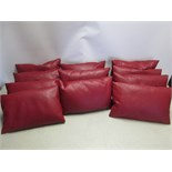 11 x Red Faux Leather Cushions, Size 40cm x 25cm