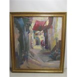 Original Artwork on Canvas, Depicting Middle Eastern Suk Market, Signed by Artist as Pictured in