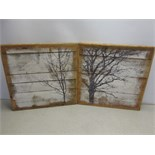 2 x Handmade Artworks by Coulson Macleod, Depicting Winter Tree Scenes (with writing 'the roar of