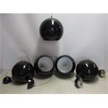 15 x Leitmotive Pendant Lamp Ceiling Lights, Aluminium, Black. Size Diameter 25cm