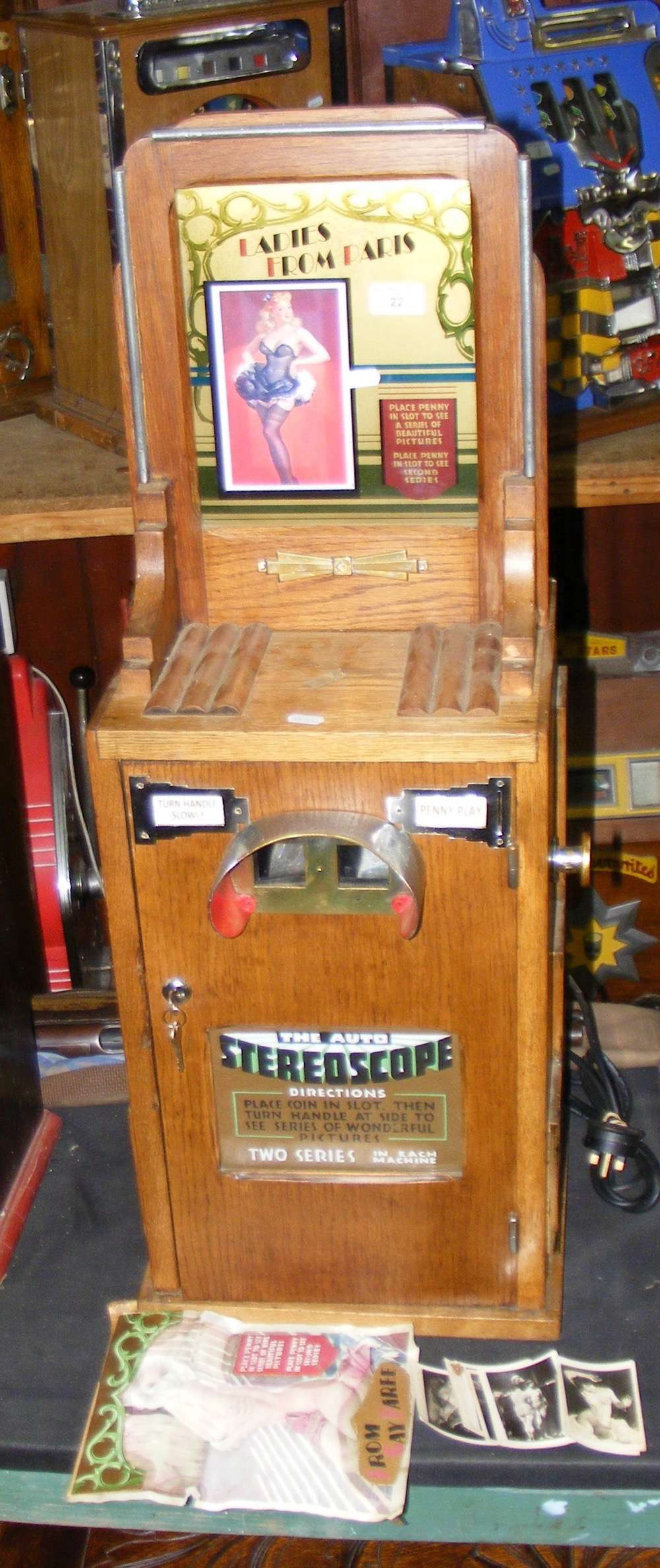 "Lot 22 - A Stereoscope amusement arcade coin operated viewer ""Ladies From Paris"""