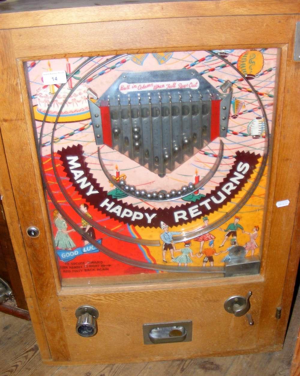 "Lot 14 - A pinball type amusement arcade machine ""Many Happy Returns"""
