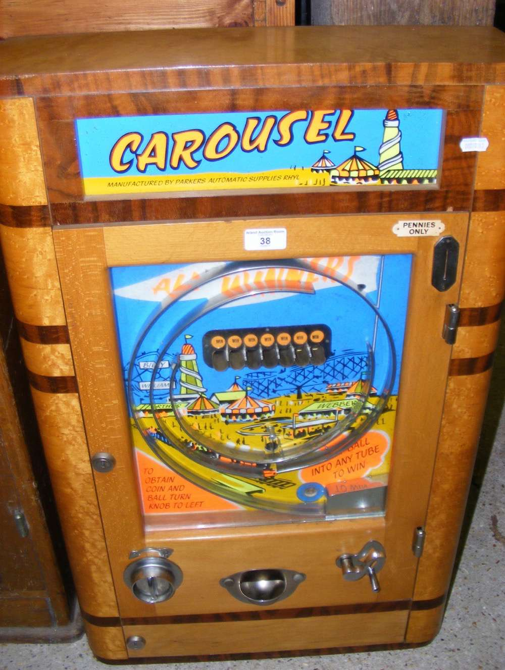 "Lot 38 - A ""Carousel"" coin in the slot pinball type amusement arcade machine"