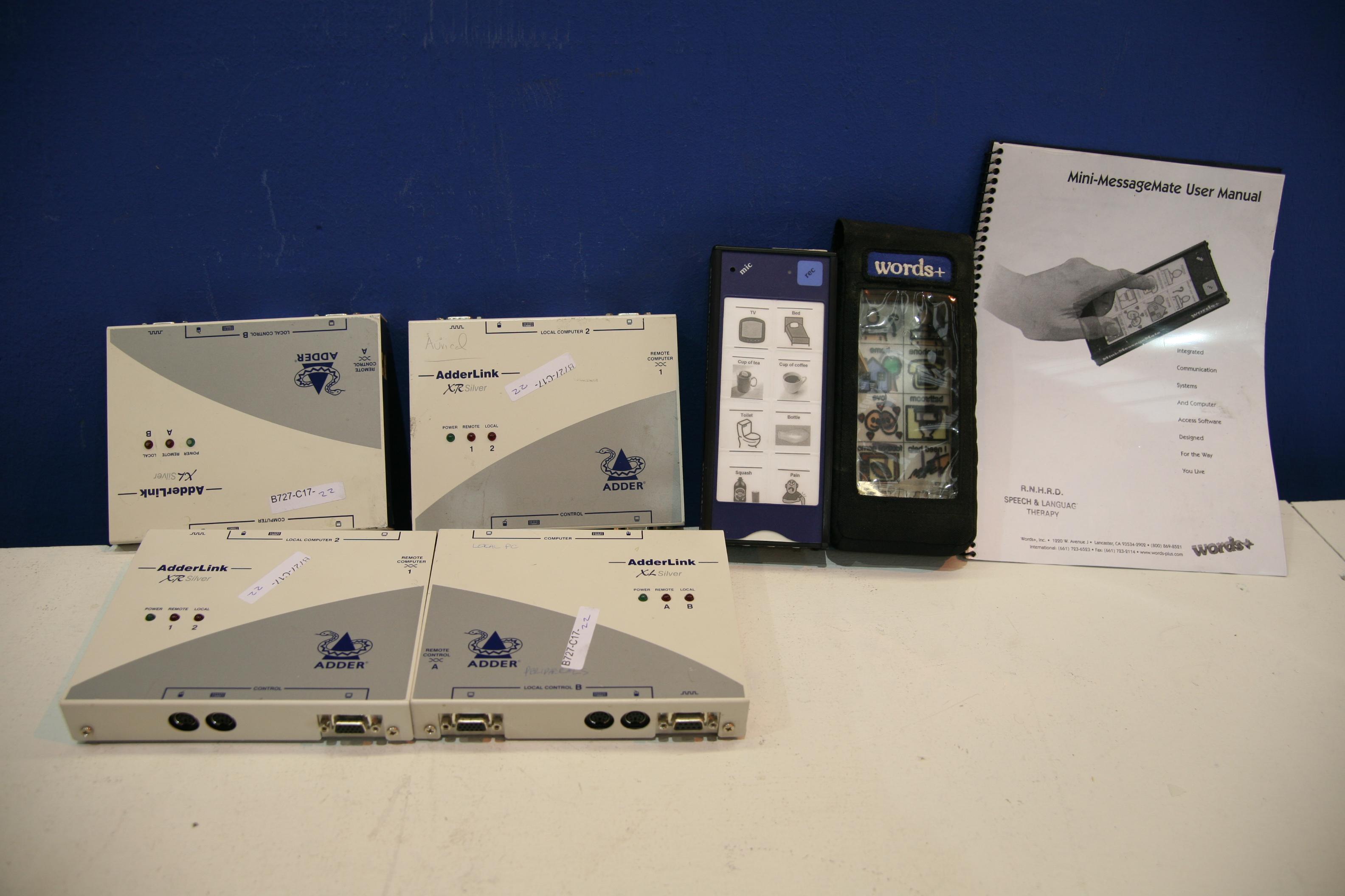 Lot 51 - Words + Mini Message Mate and 4x Adderlink XTR Silver Extender Sender / Transmitter