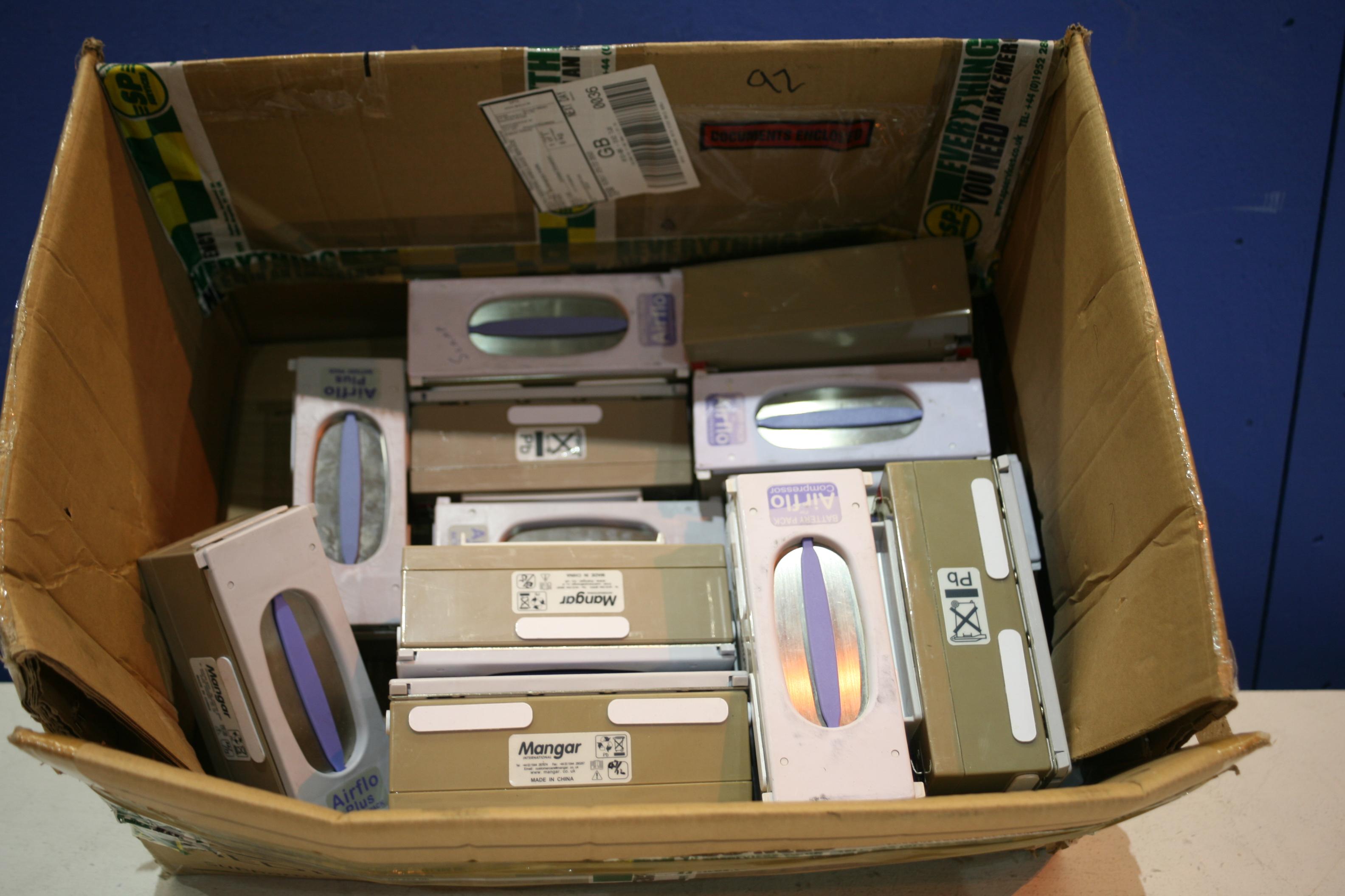 Lot 92 - Box Of Mangar Air Flo Compressor Batterys