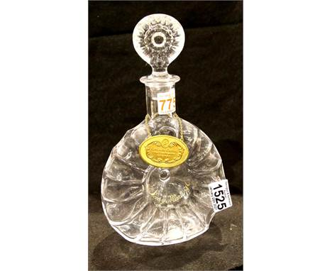Baccarat Crystal cognac decanter and stopper for Remy Martin, etched and numbered to the base, with brass decanter label. P&a