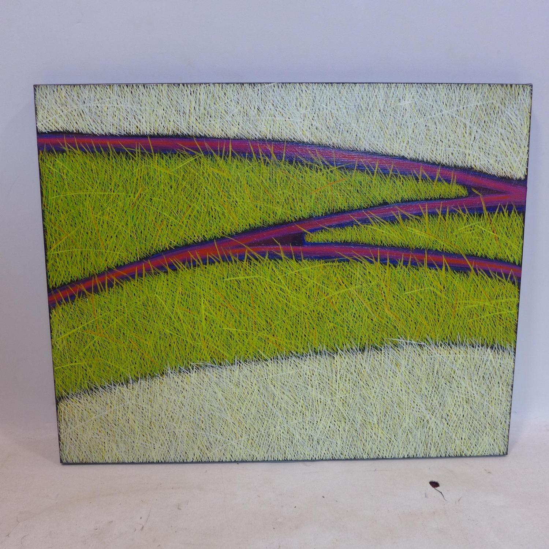 Lot 529 - Yvonne Mills-Stanley, 'Grass Tracks I', oil on linen, 61 x 76cm