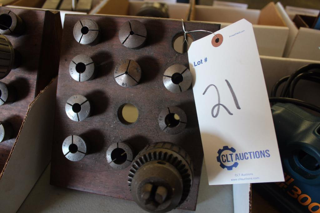 Lot 21 - R-8 collet set with drill chuck